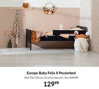 Aanbiedingen Europe baby felix ii peuterbed - Europe baby - Geldig van 21/09/2021 tot 18/10/2021 bij Babypark