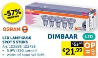 Aanbiedingen Led lamp gu10 spot - Osram - Geldig van 05/10/2021 tot 01/11/2021 bij Zelfbouwmarkt