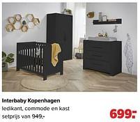 Aanbiedingen Interbaby kopenhagen ledikant, commode en kast - Interbaby - Geldig van 27/09/2021 tot 23/10/2021 bij Baby-Dump