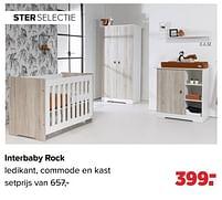 Aanbiedingen Interbaby rock ledikant, commode en kast - Interbaby - Geldig van 27/09/2021 tot 23/10/2021 bij Baby-Dump