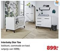 Aanbiedingen Interbaby star too ledikant, commode en kast - Interbaby - Geldig van 27/09/2021 tot 23/10/2021 bij Baby-Dump