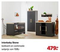 Aanbiedingen Interbaby stone ledikant en commode - Interbaby - Geldig van 27/09/2021 tot 23/10/2021 bij Baby-Dump