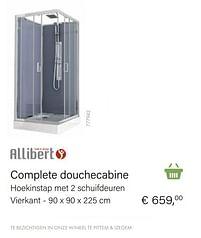 Aanbiedingen Complete douchecabine hoekinstap met 2 schuifdeuren vierkant - Allibert - Geldig van 04/10/2021 tot 16/11/2021 bij Multi Bazar