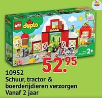 Aanbiedingen 10952 schuur, tractor + boerderijdieren verzorgen - Lego - Geldig van 11/10/2021 tot 06/12/2021 bij Multi Bazar