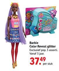 Aanbiedingen Barbie color reveal glitter - Mattel - Geldig van 11/10/2021 tot 06/12/2021 bij Multi Bazar