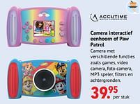 Aanbiedingen Accutime Camera interactief eenhoorn of paw patrol - Accutime - Geldig van 11/10/2021 tot 06/12/2021 bij Multi Bazar