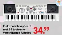 Aanbiedingen Elektronisch keyboard met 61 toetsen en verschillende functies - Huismerk - Multi Bazar - Geldig van 11/10/2021 tot 06/12/2021 bij Multi Bazar