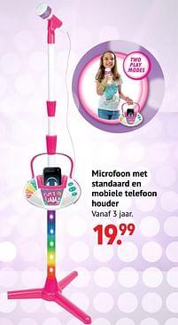 Aanbiedingen Microfoon met standaard en mobiele telefoon houder - Huismerk - Multi Bazar - Geldig van 11/10/2021 tot 06/12/2021 bij Multi Bazar