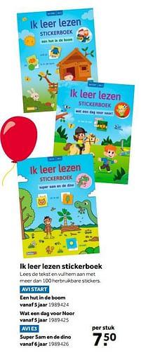 Aanbiedingen Ik leer lezen stickerboek een hut in de boom - Huismerk - Intertoys - Geldig van 02/10/2021 tot 05/12/2021 bij Intertoys