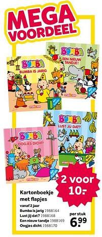 Aanbiedingen Kartonboekje met flapjes bumba is jarig - Studio 100 - Geldig van 02/10/2021 tot 05/12/2021 bij Intertoys