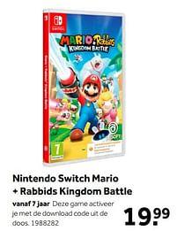 Aanbiedingen Nintendo switch mario + rabbids kingdom battle - Ubisoft - Geldig van 02/10/2021 tot 05/12/2021 bij Intertoys