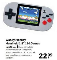 Aanbiedingen Wonky monkey handheld 1,8`` 150 games - Wonky Monkey - Geldig van 02/10/2021 tot 05/12/2021 bij Intertoys