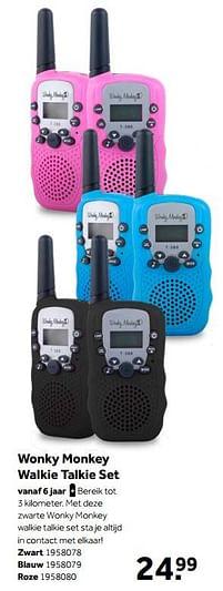 Aanbiedingen Wonky monkey walkie talkie set zwart - Wonky Monkey - Geldig van 02/10/2021 tot 05/12/2021 bij Intertoys