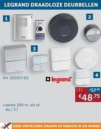 Aanbiedingen Legrand draadloze deurbellen - Legrand - Geldig van 19/10/2021 tot 15/11/2021 bij Zelfbouwmarkt