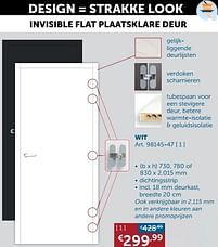 Aanbiedingen Invisible flat plaatsklare deur wit -  - Geldig van 19/10/2021 tot 15/11/2021 bij Zelfbouwmarkt