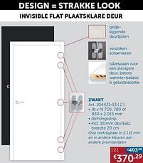 Aanbiedingen Invisible flat plaatsklare deur zwart -  - Geldig van 19/10/2021 tot 15/11/2021 bij Zelfbouwmarkt