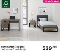 Aanbiedingen Tienerkamer steel grijs - Huismerk - Baby & Tiener Megastore - Geldig van 17/10/2021 tot 23/10/2021 bij Baby & Tiener Megastore