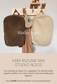 Aanbiedingen Mini rugzak studio noos - Studio Noos - Geldig van 17/10/2021 tot 23/10/2021 bij Baby & Tiener Megastore