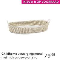 Aanbiedingen Childhome verzorgingsmand met matras geweven stro - Childhome - Geldig van 17/10/2021 tot 23/10/2021 bij Baby & Tiener Megastore