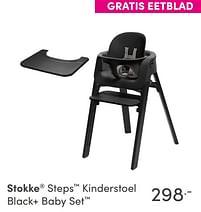 Aanbiedingen Stokke steps kinderstoel black+ baby set - Stokke - Geldig van 17/10/2021 tot 23/10/2021 bij Baby & Tiener Megastore