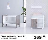 Aanbiedingen Cabino babykamer fresno grey - Cabino - Geldig van 17/10/2021 tot 23/10/2021 bij Baby & Tiener Megastore