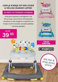 Aanbiedingen Cabino loopstoel - Cabino - Geldig van 17/10/2021 tot 23/10/2021 bij Baby & Tiener Megastore