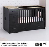Aanbiedingen Cabino memphis combi ledikant - Cabino - Geldig van 17/10/2021 tot 23/10/2021 bij Baby & Tiener Megastore