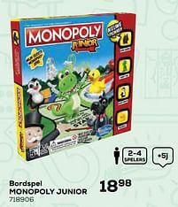Aanbiedingen Bordspel monopoly junior - Hasbro - Geldig van 22/10/2021 tot 07/12/2021 bij Supra Bazar