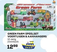 Aanbiedingen Green farm speelset voertuigen + aanhangers - Green Farm - Geldig van 22/10/2021 tot 07/12/2021 bij Supra Bazar