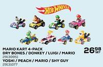 Aanbiedingen Mario kart 4-pack dry bones - donkey - luigi - mario - Hot Wheels - Geldig van 22/10/2021 tot 07/12/2021 bij Supra Bazar