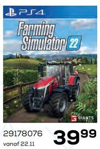 Aanbiedingen Farming simulator 22 - GIANTS Software - Geldig van 22/10/2021 tot 07/12/2021 bij Supra Bazar
