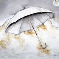 Aanbiedingen Witte Paraplu - Olieverfschilderij - 100x100 cm -  - Geldig van 21/05/2021 tot 26/06/2021 bij Expo XL