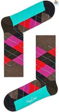 Aanbiedingen Happy Socks Argyle Sokken, Bruin/Paars - Happy Girl - Geldig van 15/08/2021 tot 23/10/2021 bij Expo XL